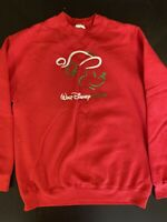 Vintage Walt Disney World Christmas Mickey Red Crewneck Sweatshirt Size M