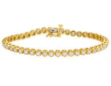 "Mens 1 Row Tennis Real Diamond Toni Set Claw 14k Yellow Gold Bracelet 7"" 2 4/5ct"