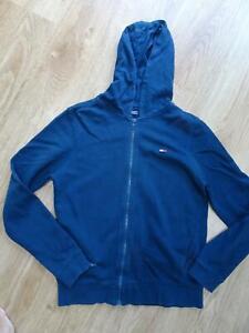 TOMMY HILFIGER boys navy blue hooded zip thru jumper hoodie AGE 14 YEARS