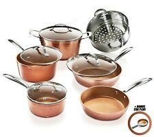 Gotham Steel 11 Piece Hammered Nonstick Copper Cookware Set - Bonus Egg Pan