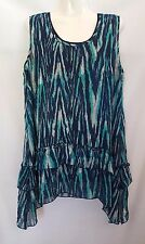 "BNWT - ""MILLERS"" - Size 14 - Blue/Aqua/Grey Sleeveless Layered & Lined Top"