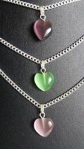 """HEART SHAPED  CAT EYE GEM PENDANT NECKLACE ON 16"""" SILVER TONE CHAIN  NEW BAGGED"""