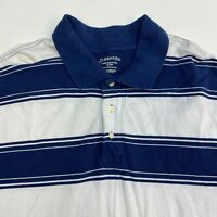 St. John's Bay Super Pique Polo Shirt Men's 3XL XXXL Short Sleeve Blue Striped