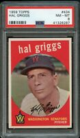1959 Topps BB Card #434 Hal Griggs Washington Senators PSA NM-MT 8 !!