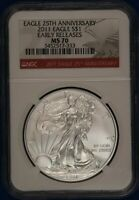 2011 American Silver Eagle. NGC MS70.  ET1634A/RH