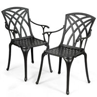 Set of 2 Cast Aluminum Dining Chairs Durable Solid Construction W/Armrest Black