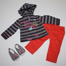 American Girl Striped Hoodie Outfit Dress with Pants and Running Shoes For Doll