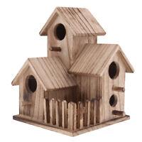 Traditional Natural Wood Bird Nesting Box Wooden Bird House Garden Decor #2