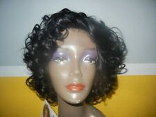 Janet Collection Remy human hair Lace front wig in Jet Black in color 1
