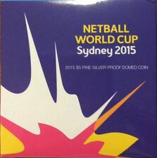 2015 $5 fine silver proof coin - netball World Cup domed coin