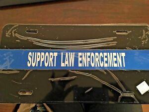 SUPPORT LAW ENFORCEMENT  BLUE LINE LICENSE PLATE, REFLECTIVE