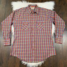 DEE CEE Men's Vintage Shirt Western Plaid Large L Pearl Snap Button Authentic