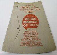 Vintage The Big Broadcast of 1936 Bing Crosby George Burns Megaphone Advertising