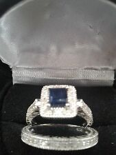 PRINCESS HALO SAPPHIRE & DIAMOND ENGAGEMENT RING SET SZ 5 SZ 6  SZ 7