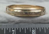 Vintage Engraved Childs Gold Plate Bangle Cuff Bracelet I Love You jds2