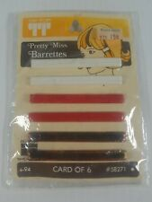 6 Vintage Tip Top Pretty Miss Barrettes White Red Brown Spring Back USA Made New