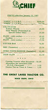 1947 Price Sheet Flyer for Chief Great Lakes Tractor Co. Rock Creek OH