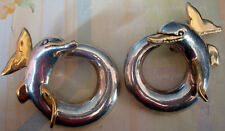Adorable!!! Vintage Sterling Silver and Goldtone Coiled Dolphin Clip-on Earrings