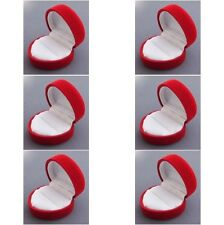 "6 Heart Flocked Jewelry Ring Boxes, Tuck-in Packer, Red Velvet 2""x1 3/4""x1 3/4"""
