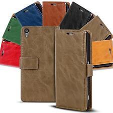 Handy Tasche für Sony Xperia Book Flip Cover Case Schutz Hülle Wallet Retro Etui
