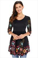 Minikleid Mini Kleid Sommerkleid Tunika Tuniken Bluse Oberteil 3/4 Ärmel BC492