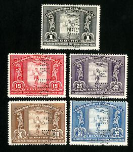 El Salvador Stamps # 538-42 XF Rare specimen set OG NH