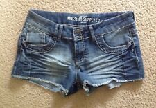 MOSSIMO SUPPLY CO Junior Womens Embellished Denim Dungaree Shorts - Blue - 9