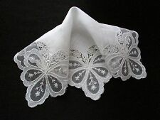 Vintage White Wedding Net Lace Hankie with Applique & Lace Inserts