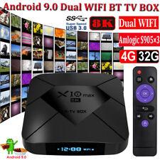 2020 8K X10 MAX 4+32G Android 9.0 Dual WLAN BT Amlogic TV BOX H.265 64Bit S905×3