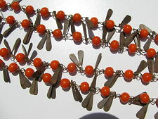 VTG.ART DECO FIESTA RED CORAL GLASS BEAD METAL PROPELLER APPLIQUE WIRED NECKLACE