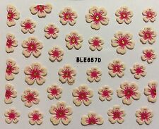 Nail Art 3D Decal Stickers White & Pink Flowers BLE657D
