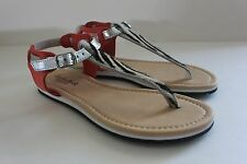 Women's Charles David Leather Zebra Calf Hair Thong Coral Sandal Shoe Size 6 M