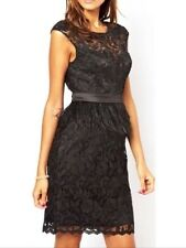 Bnwt🎀Lipsy VIP🎀Size 8 Black Waxed Crotchet Lace Feather Dress Prom New £120
