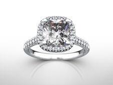ENGAGEMENT DIAMOND HALO RING 1.63 CT 14K WHITE GOLD WOMENS SIZE 5.5 6.5 7 9