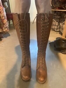 Vintage Frye Leather Lace Up Knee High Boots Deadstock Beautiful Condition Size6
