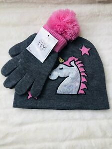 New BFNY  Girls Hat And Glove Set, 4-8yrs Gray Unicorn