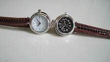 DESIGNER STYLE BROWN WITH SILVER FINISH DUAL TIME  2 TIME ZONE ELEGANT WATCH