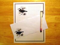 Bird Sketch Stationery 12 Sheets 6 Envelopes - Lined Stationary