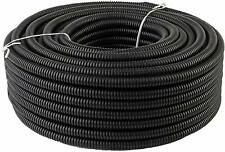 "50 Ft. 3/8"" Split Wire Loom Conduit Polyethylene Tubing Black Color Sleeve Tube"