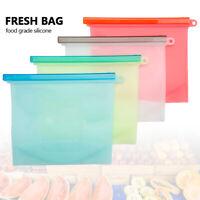 4/8PCS Silicone Food Freezer Storage Kitchen Fresh Zip lock Seal Bag Reusable