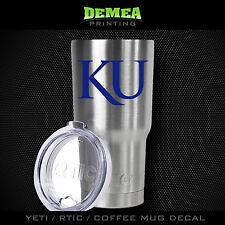 Kansas Jayhawks -Yeti/Rtic/Yeti Rambler/Tumbler/Coffee Mug-Decal-Blue