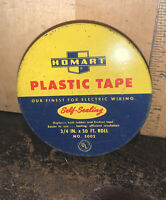 VINTAGE HOMART PLASTIC TAPE TIN CAN Empty.