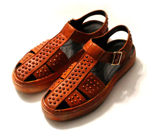 Roman Mens Real Leather Slingbacks Sandals Shoes Closed Toe Rivet Oxfords Chic L