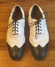 FootJoy ICON Men's Leather Black & White Waterproof Golf Shoes, Size 11M