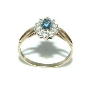 Ladies Womens 9carat Yellow Gold Turquoise & Clear CZ Dress Ring UK Size M 1/2