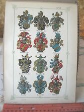 Vintage Print,PLATE 4,Swiss Coats of Arms,1860,Jean Egli,Illuminated