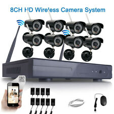 8PCS Wireless 8CH HD NVR 720P WIFI IR-CUT Camera Outdoor Home Security System