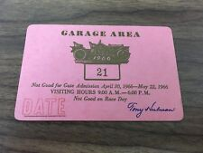 1966 Indianapolis 500 Garage Area Pass (Individual Day)