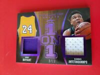 KOBE BRYANT GAME USED JERSEY GIANNIS ANTETOKOUNMPO 1 ON 1 CARD #2/12 20 LEAF ITG