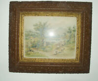 HUGE  Antique Victorian Aesthetic Gesso Gilded Wood Frame Pastoral Scene